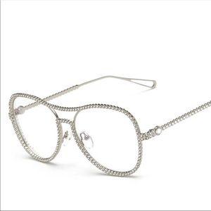 Accessories - Luxury Style Silver Rhinestone Aviator Glasses